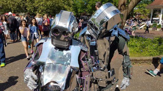 Alien robots at the NNF Garden Party in Chapelfield Gardens