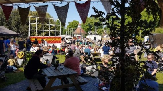 Outside the Adnams Spiegeltent