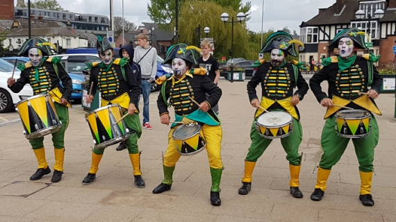 Drummers of Compagnie Transe Express outside Norwich Station